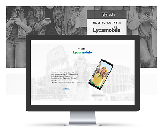Projekt graficzny landing page Lycamobile.